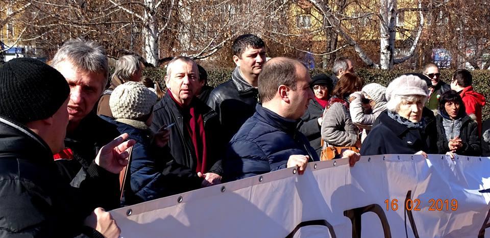 Георги Пирински по време на антифашисткото шествие в София на 16 февруари т.г. Снимка: Николай Белалов