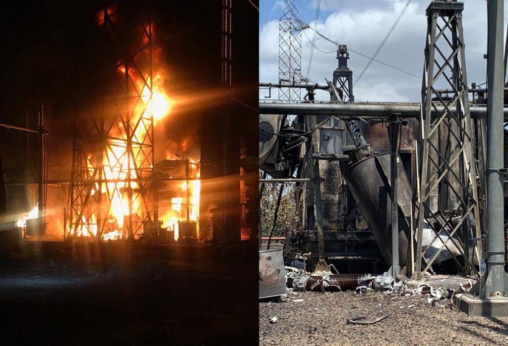 Момент от взривяването на част от инсталациите на ВЕЦ-а на язовира Гури и някои от пораженията, заснети на следващия ден. Кадрите бяха разпространени от министъра на информацията Хорхе Родригес. Снимка: Albaciudad
