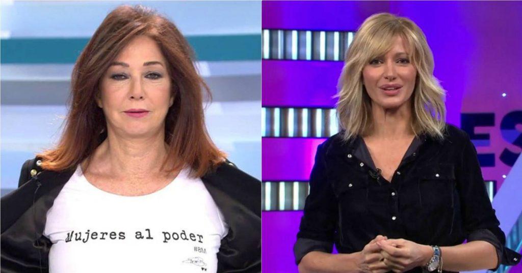"""Популярните телевизионни водещи Ана Роса Кинтана от Telecinco (вляво) и Сусана Грисо от Antena 3 също подкрепиха феминистката стачка в Испания. Ана Роса Кинтана показа и тениската си с надис """"Жените на власт"""". Снимка: El Pais"""