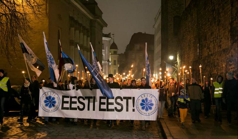 Факелно шествие на Естонска консервативна народна партия (EKRE) из Талин. Снимка: ECFR