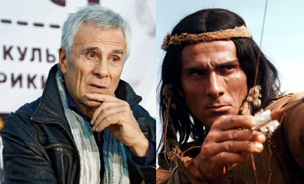 Гойко Митич днес (вляво) и в апогея му като герой-индианец от филмите на ДЕФА. Снимка: kramola.info
