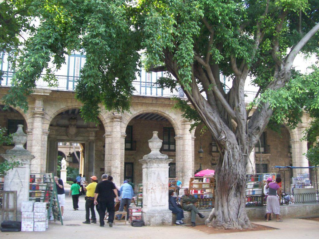 Градинката пред някогашния дворец на колониалния генерал-губернатор е пълна с продавачи на книги. Снимка: Къдринка Къдринова