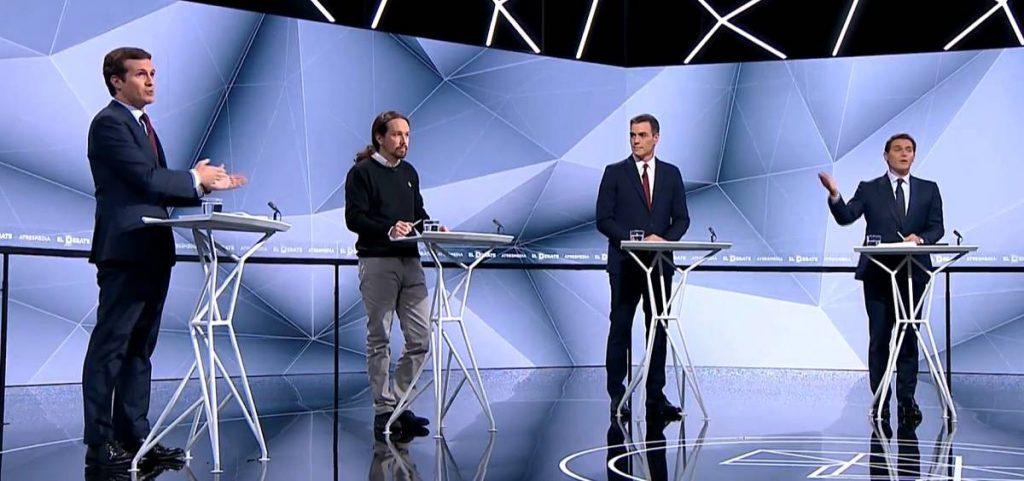 Пабло Касадо, Пабло Иглесиас, Педро Санчес и Алберт Ривера (атляво надясно) по време на втория телевизионен дебат. Снимка: Antena 3