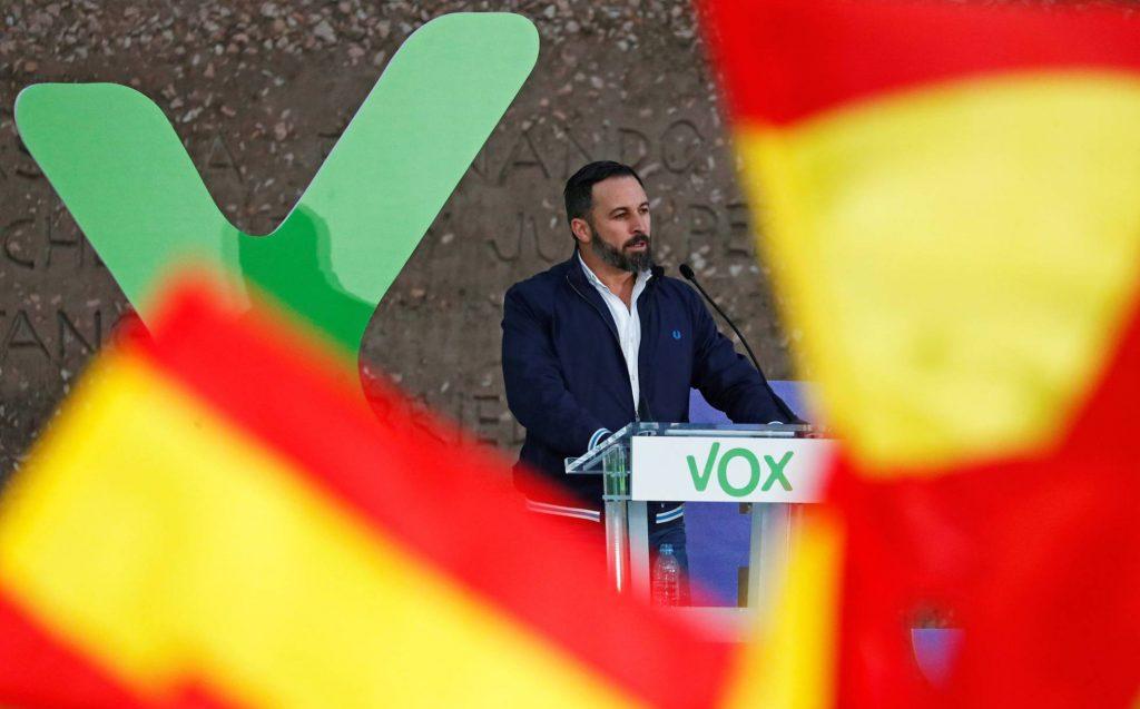 Лидерът на Vox Сантяго Абаскал по време на предизборен митинг. Снимка: El Pais