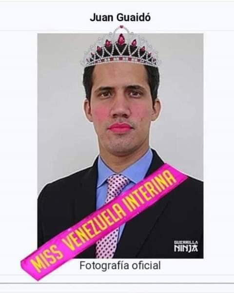 """В Туитър беше пуснат и такъв шарж на Хуан Гуайдо. На лентата пише: """"Временна мис Венесуела""""."""