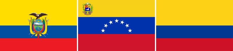 Днешните национални флагове на Еквадор, Венецуела и Колумбия (отляво надясно)