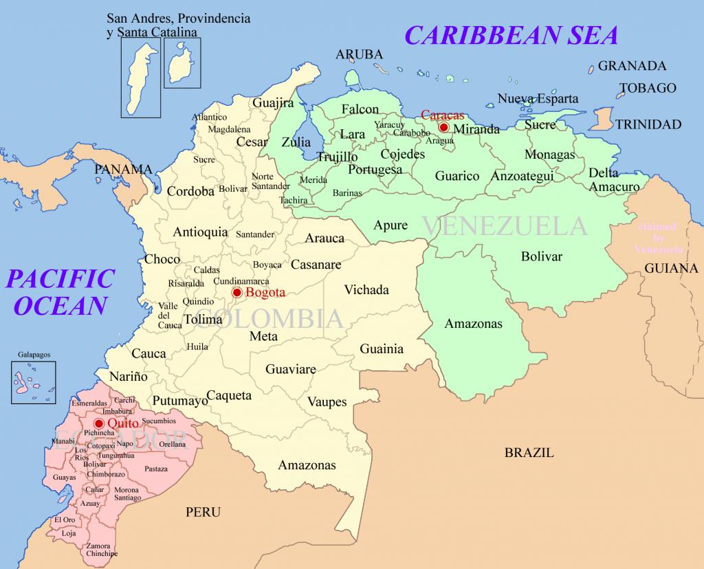 Днешна карта на републиките Панама, Колумбия, Венецуела и Еквадор. Илюстрация: Wikimedia Commons