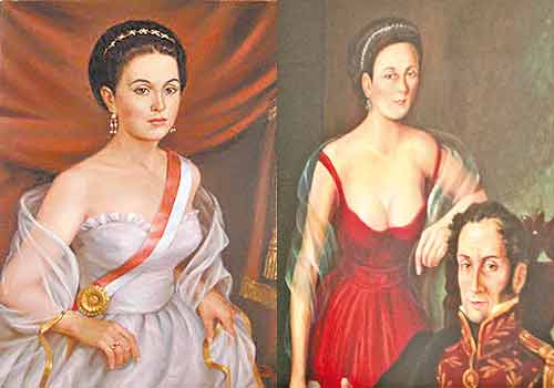 Два старинни портрета на Мануелита Саенс–любимата на Симон Боливар от Кито. На десния портрет тя е изобразена с Освободителя, когото два пъти спасява от смърт