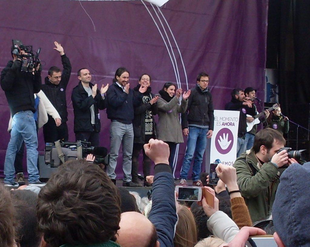 """Ръководството на """"Подемос"""" на сцената по време на митинга в Мадрид на 31 януари 2015 г. Снимка: Къдринка Къдринова"""