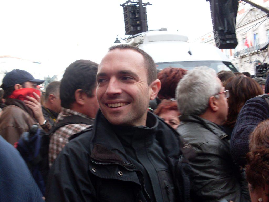 """Луис Алегре след митинга на """"Подемос"""" на 31 януари 2015 г. Снимка: Къдринка Къдринова"""