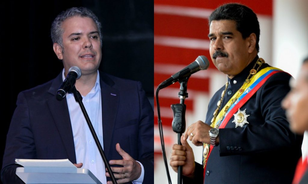 Президентите на Колумбия Иван Дуке (вляво) и на Венецуела Николас Мадуро днес не си говорят. Снимка: Туитър