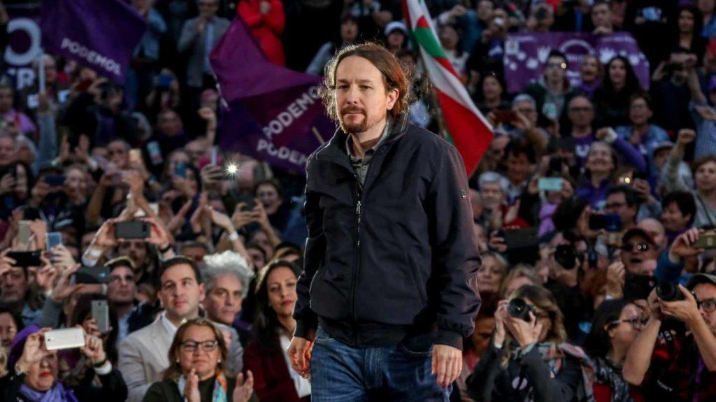 Пабло Иглесиас на митинга на 23 март т. г. по повод завръщането си в политиката. Снимка: EFE