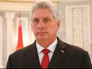 Кубинският президент Мигел Диас-Канел осъди и отхвърли санкциите на САЩ, целящи да ударят едновременно и Венесуела, и Куба, и техни чуждестранни търговски партньори. Снимка: minrex