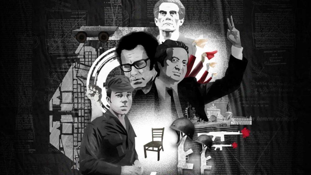 """Плакат в чест на """"революцията на карамфилите"""". Най-отгоре е ликът на Алваро Кунял. На втора линия отляво е певецът Жозе Афонсу, счиято песен започва революцията, а до него е Марио Соариш. Отдолу е капитан Салгейру Мая. Снимка: cultura na rua"""