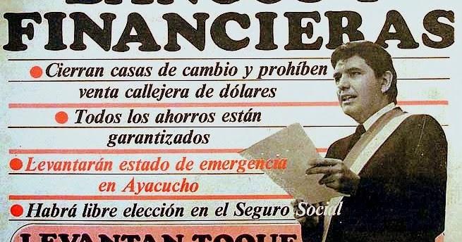 """Част от първата страница на перуанския в. """"Република"""", известяващи за финансово-икономичесси мерки на младия президент Алан Гарсия през първия му мандат от 1985 до 1990 г."""