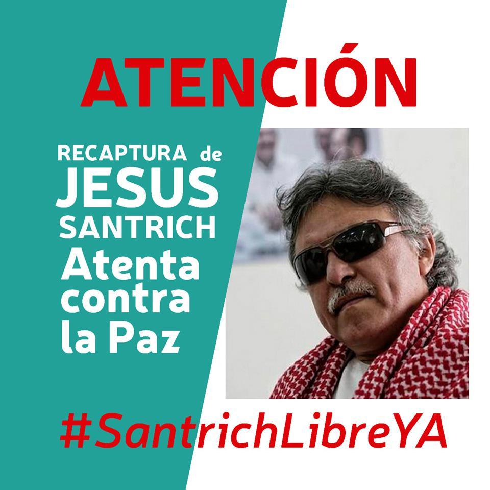 """""""Внимание! Новият арест на Хесус Сантрич се покушава срещу мира. Свобода за Сантрич""""–това пише на разпространявания във Фейсбук плакат"""