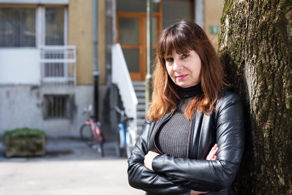 Подгласничка на Нико Куе в кандидатурата му за председател на ЕК е ловенската актриса и член на Европейската левица Виолета Томич. Снимка: European Left