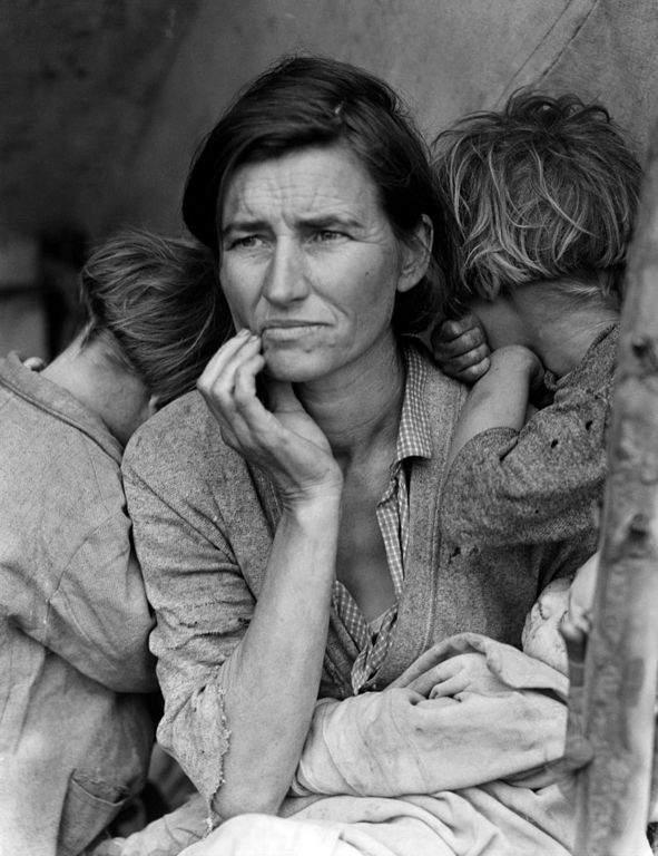 """Снимката на Дороти Ланг """"Майка на мигранти"""", показваща човешкото лице на Голямата депресия (1936)"""
