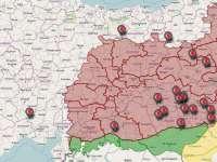 Засегнатите от чистките общини. Карта: https://twitter.com/TurkeyUntold