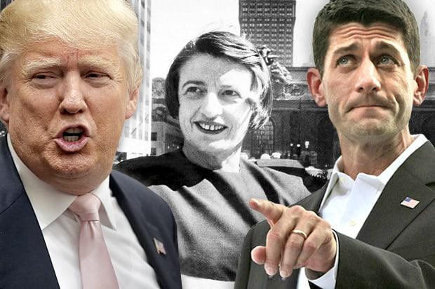 Доналд Тръмп, Айн Ранд и Пол Райън - очаквано лоша комбинация. Снимка: Salon