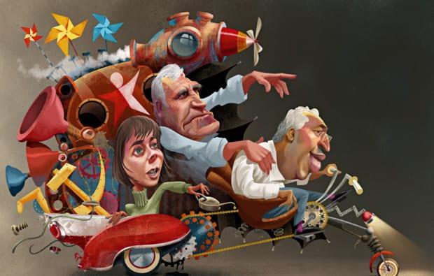 Португалските карикатуристи обичат да виждат премиера Коща и подкрепящите го леви лидери като водачи на невъобразима конструкция. Илюстрация: expresso.sapo.pt