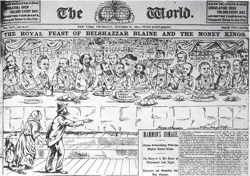 Карикатура на Walt McDougall и Valerian Gribayedoff, публикувана в New York World, 30 октомври 1884