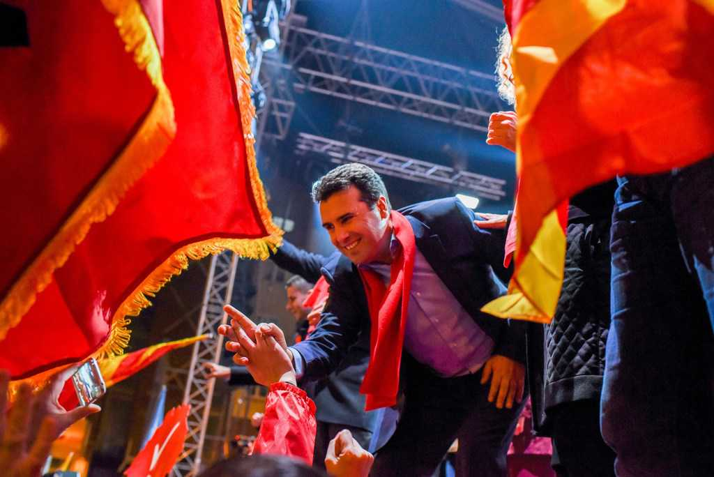 Лидерът на СДСМ Зоран Заев вече се вижда като нов премиер. Снимка: СДСМ