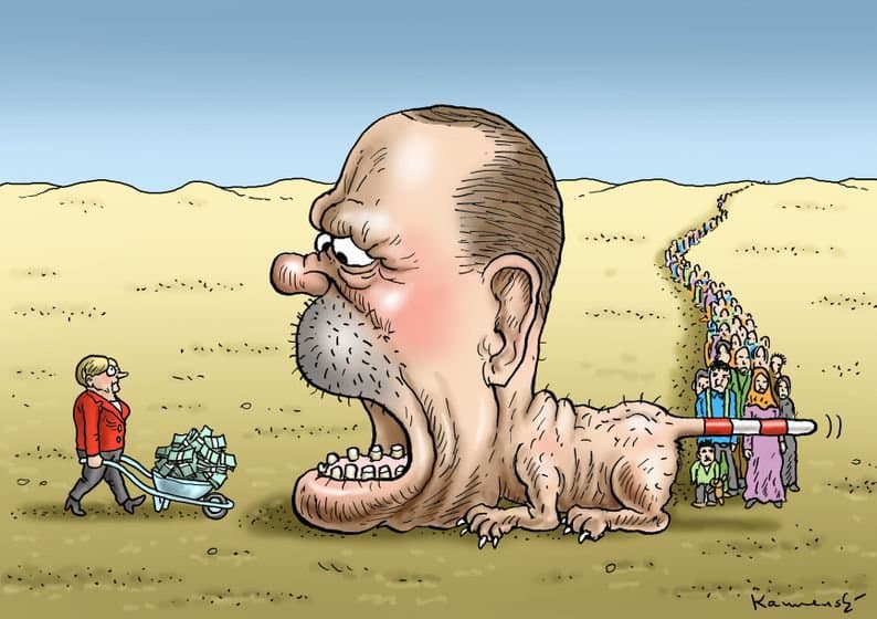 Такива са взаимоотношенията между Меркел, Ердоган и бежанския поток според една карикатура в Туитър