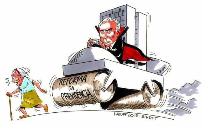 Пенсионната реформа, стартирана от правителството на Мишел Темер, мачка възрастните хора като с валяк. Карикатура: desacato.info