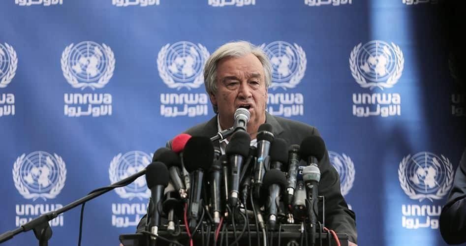 Посещението на Антонио Гутереш идва на фона на влошаване на хуманитарната криза в Газа и на изостряне на отношенията между ООН и Израел. Снимка: https://twitter.com/palinfoen