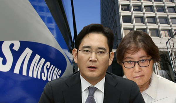 "Босът на ""Самсунг"" Ли Чжън Йон и ""распутинката"" Чхуе Сун Сил зад гърба му. Колаж: The Hankyoreh"