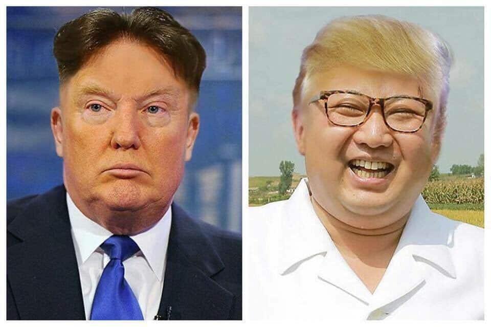 Тази шегичка с разменените прически на Тръмп и Ким завладя Туитър напоследък - покрай тъй пламенното им противопоставяне