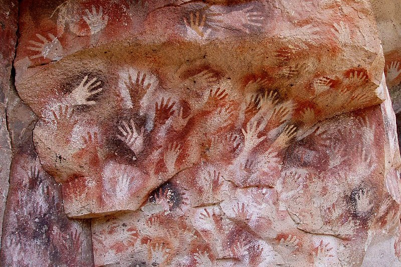Пещерни рисунки на възраст между 9 и 13 хиляди години от Санта Круз, Аржентина. Снимка: Wikimedia Commons