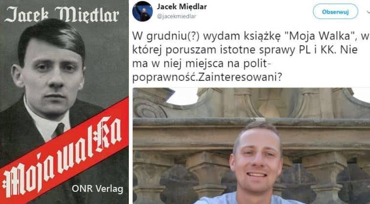 Вдясно туитът на Миендлар (вече изтрит) в който той обявява издаването на въпросната книга. Вляво - предложение за обложка на книгата разпространена в интернет от полски анархисти.