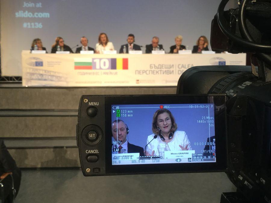 Мария Грапини на румъно-българския форум в Русе на 20 октомври 2017 г. (снимка: Мария Грапини, ЕП)