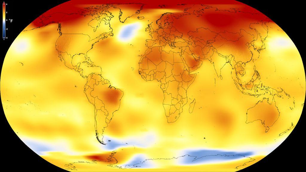2017 г. беше по-студена от 2016 г., но и втората най-топла година от 1880 г. насам. Графика: NASA