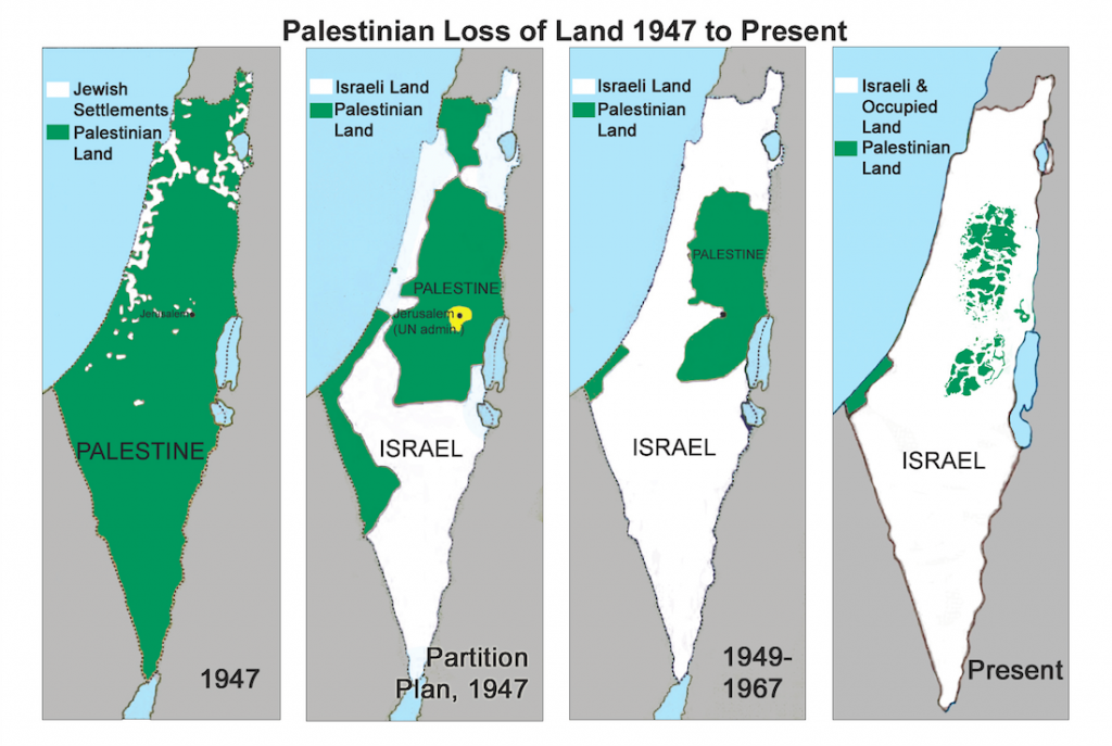 Изтласкване на палестинците от земите им от 1948 г. досега. Източник: Wikipedia