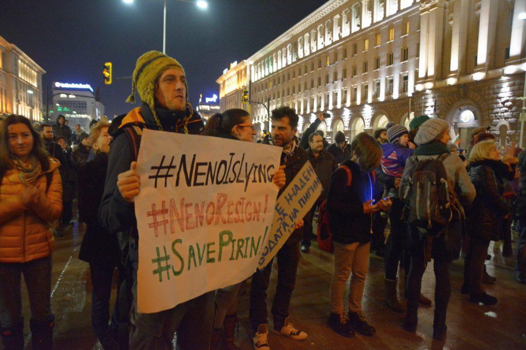 Боян Петров на протест за Пирин. Снимка: Барикада
