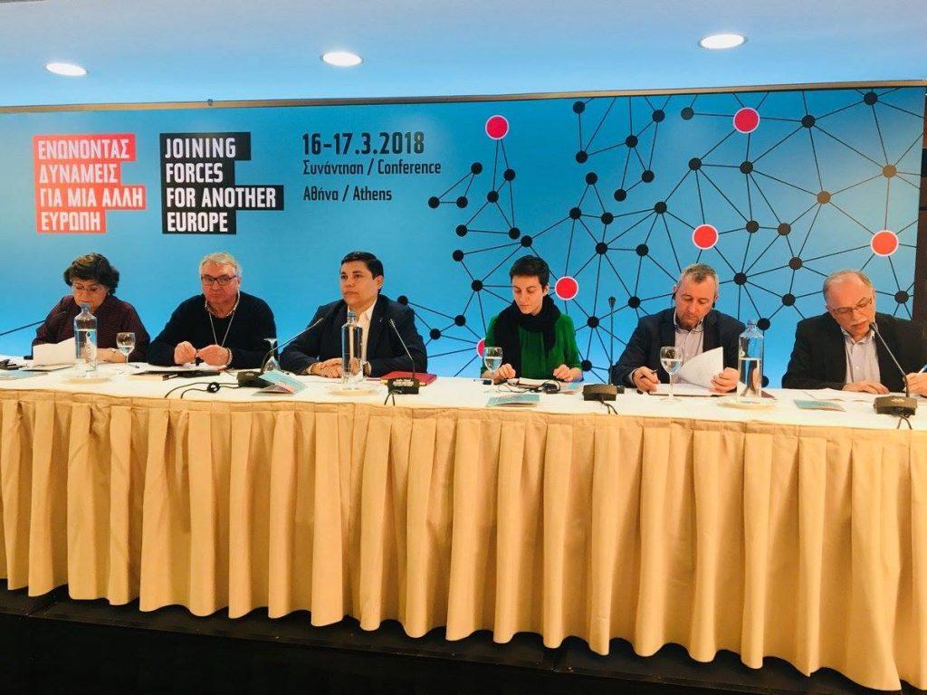 """По време на дискусиите на състоялата се в Атина конференция на Програсивния форум под надслова """"Да обединим сили за една различна Европа"""". Снимка: left.gr"""