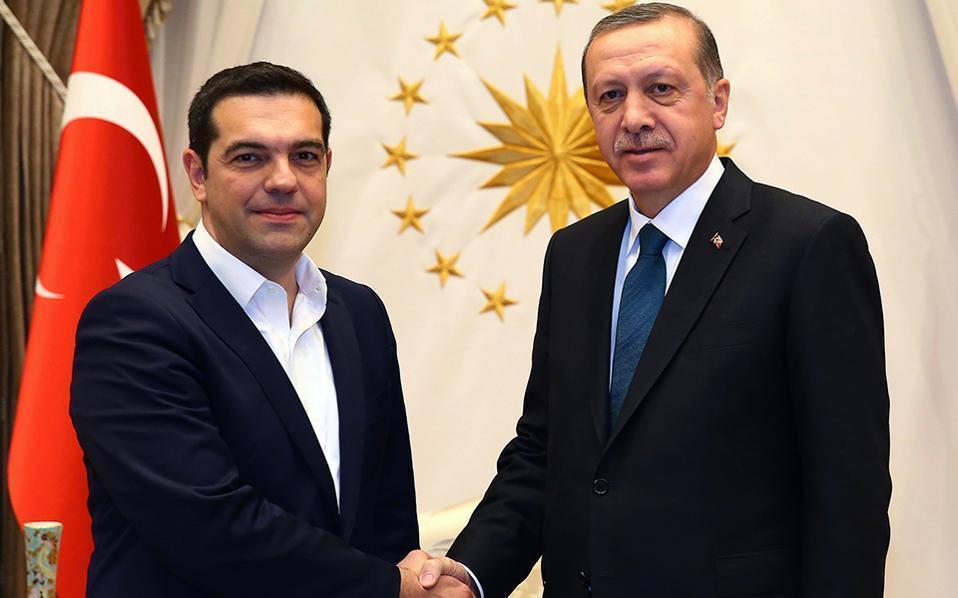 Ердоган припомни териториалните си претенции към Гърция и при срещата си с Алексис Ципрас през миналата година. Снимка: ekathimerini.com