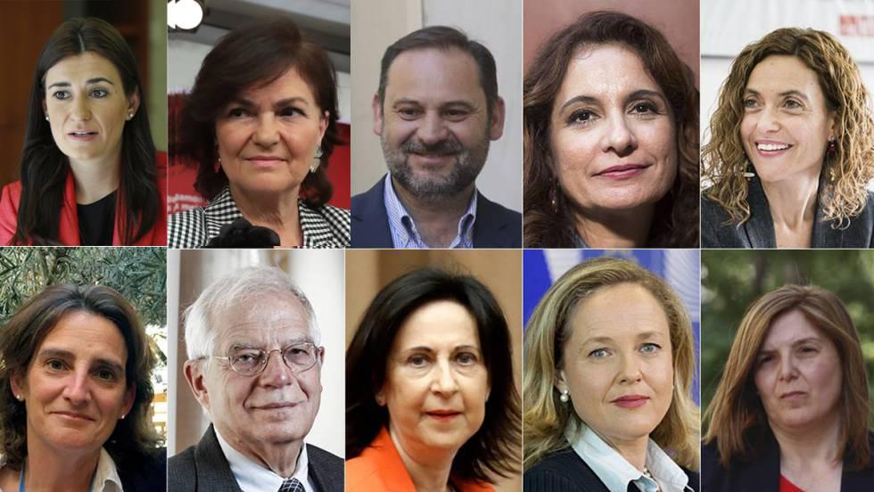 Това са част от министрите в новото испанско правителство. На горния ред, отляво надясно: Кармен Монтон, Кармен Калво, Хосе Луис Абалос, Мария Хесус Монтеро, Меричел Батет. На втория ред, отляво надясно: Тереса Рибера, Жозеп Борел, Маргарита Роблес, Надя Калвиньо, Пилар Кансела. Колаж: El Pais
