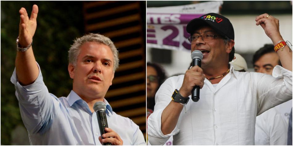 Иван Дуке (вляво) ще е новият десен президент на Колумбия, а Густаво Петро (вдясно) ще е лицето на новата силна лява опозиция. Снимка: primicias24