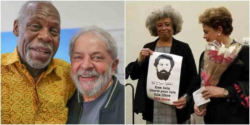 Лула и Дани Глоувър (вляво) са приятели отдавна. Актьорът от САЩ, който е бил посланик на добра воля на ООН, от години активно подкрепя ангажираните със социалното развитие сили в Латинска Америка. Заедно с легендарната Анджела Дейвис (с плаката на снимката вдясно) Глоувър е инициатор на инициативата за присъждането на Нобелова награда за мир на Лула. Неизменно в битката е и Дилма Русеф (с букета). Снимка: apostagem