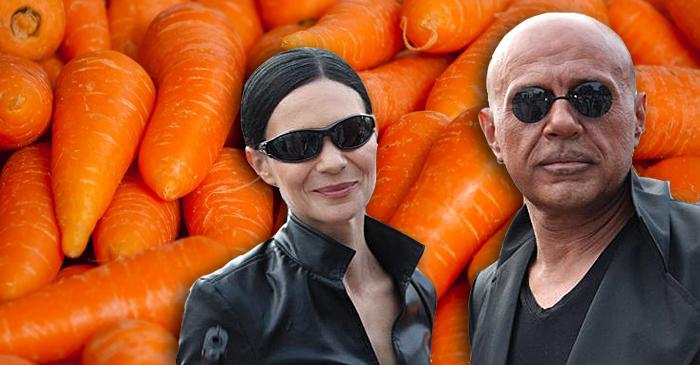 "Светлана и Томислав Дончеви на морковен фон. Колаж: ""Барикада"""