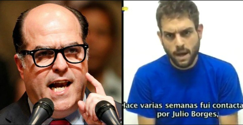 Опозиционните депутати Хулио Борхес (вляво) и Хуан Рекесенс (в кадър от видео-показанията му). Снимка: noticiasaldiayalahora.co