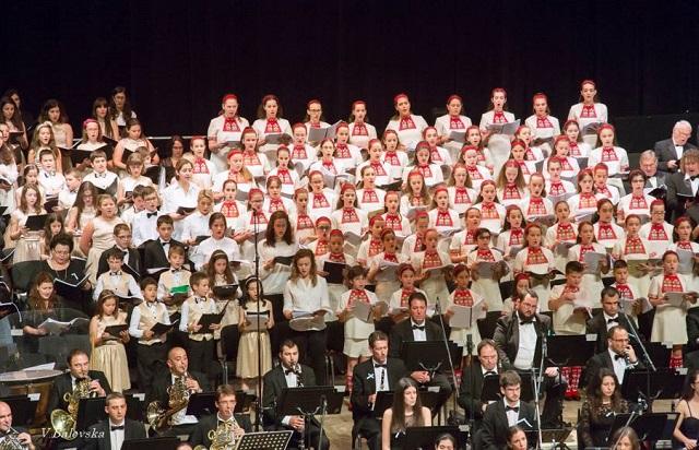 Детският радиохор се включи в концерта за закриване на българското европредседателство в НДК. Снимка: СБЖ