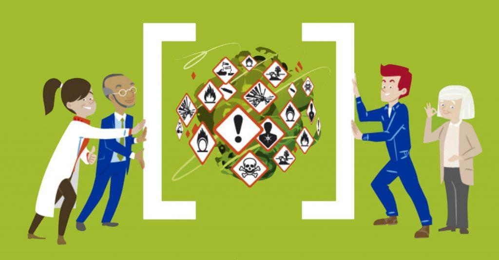 Работещите ще бъдат помолени да попълнят анонимна анкетна карта, за да стане до каква степен познават пиктограмите (изображенията), с които на етикетите се визуализират различните рискове. Графика: healthy-workplaces.eu