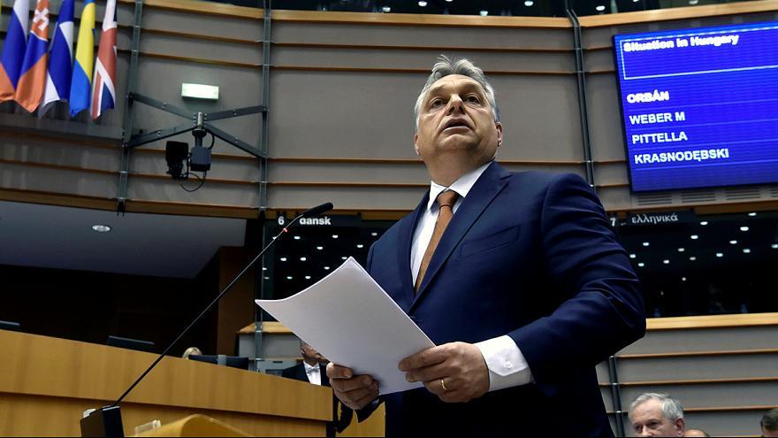Виктор Орбан в Европарламента. Снимка: it.euronews