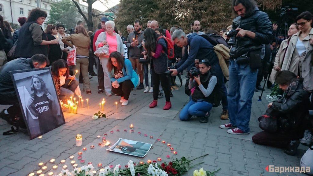По време на бдението в София в памет на Виктория Маринова. Снимка: Ивайло Атанасов
