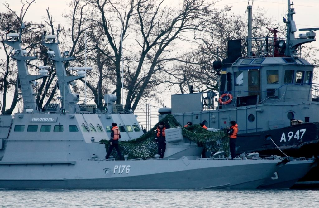 Пленените украински военни кораби бяха докарани в Керч. Снимка РИА